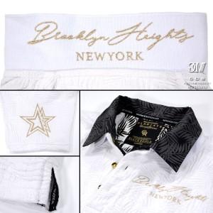 送料無料 GD8 グラディエイト GLADIATE ポロシャツ 半袖 リーフ柄 2枚襟 メンズ 刺繍 星 ジャガード レイヤード(ホワイト白) 472526
