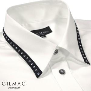 サテンシャツ ドレスシャツ 長袖 無地 レギュラーカラー メンズ 襟 切り替え ラインストーン 結婚式(ホワイト白) 37120