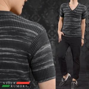 VIOLA rumore ヴィオラルモア Tシャツ 半袖 Vネック メンズ ボーダー ムラ リブ サマーニット(ブラック黒グレー灰) 71312