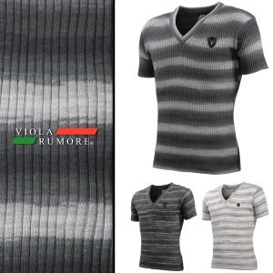 VIOLA rumore ヴィオラルモア Tシャツ 半袖 Vネック メンズ ボーダー ムラ リブ サマーニット(チャコールグレー灰) 71312