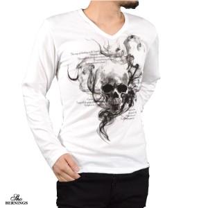 Tシャツ 長袖 スカル 髑髏 メンズ スモーク 英字 ドクロ Vネック プリント ロンT 長袖Tシャツ(ホワイト白) 303833