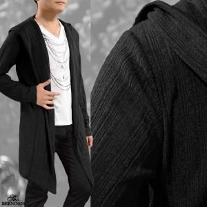 コーディガン カーディガン 長袖 ロング ドレープ メンズ 細身 ニット 薄手 ガウン ノーボタン フード コート(ブラック黒) 304933