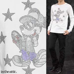 Disney ディズニー Tシャツ ミッキー スケボー メンズ クルーネック 長袖 ラインストーン キャラクター ロンT(ホワイト白) 1739006