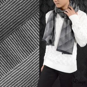 マフラー バイヤス 薄手 メンズ ビジネス モノクロ フリンジ シンプル 大判 ストール(ホワイト白グレー灰ブラック黒) 147900