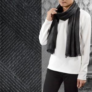 マフラー バイヤス 薄手 メンズ ビジネス モノクロ フリンジ シンプル 大判 ストール(ブラック黒グレー灰) 147900