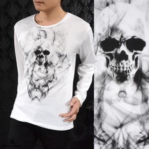 Tシャツ クルーネック スカル 髑髏 メンズ スモーク 英字 長袖 ドクロ プリント ロンT(ホワイト白) 305533