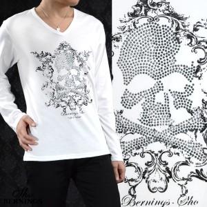 Tシャツ Vネック スカル ラインストーン メンズ ドクロ アラベスク 英字 長袖 プリント ロンT(ホワイト白) 307633