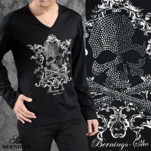 Tシャツ Vネック スカル ラインストーン メンズ ドクロ アラベスク 英字 長袖 プリント ロンT(ブラック黒) 307633