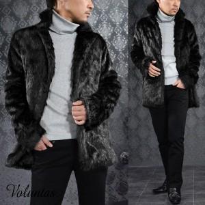 ファージャケット フェイクファー メンズ アウター ショート丈 無地 コート(ブラック黒) 228002