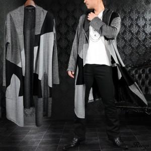 カーディガン コーディガン ロング ドレープ クレイジーパターン メンズ 薄手 コート(チャコールグレー灰ブラック黒) 128018