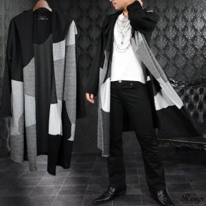 カーディガン コーディガン ロング ドレープ クレイジーパターン メンズ 薄手 コート(ブラック黒チャコールグレー灰) 128018