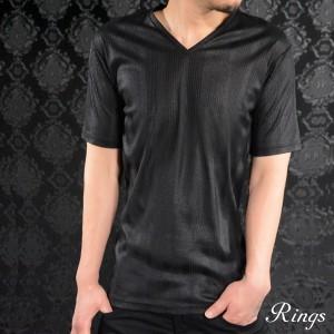 Tシャツ ストライプ ヘリンボーン Vネック メンズ 無地 半袖Tシャツ(ブラック黒) 128004