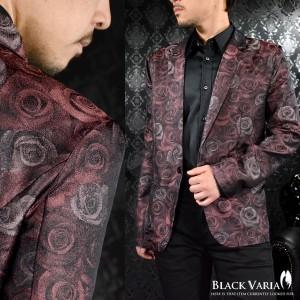 2358e415049e4 テーラードジャケット 花柄 薔薇柄 メンズ 光沢 日本製 ステージ 衣装(ワイン赤レッド