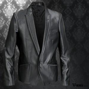 テーラードジャケット スペンサー 無地 メンズ 1ボタン ショート丈 ピークドラペル 光沢 ジャケット(ブラック黒) 952000