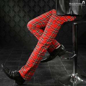 ロングパンツ ボトムス タータンチェック シューカット ブーツカット メンズ 日本製 スリム ストレッチ(レッド赤) 933745