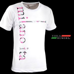 VIOLA rumore ヴィオラルモーレ Tシャツ 半袖 クルーネック 吸水速乾 メンズ プリント ストレッチ ロゴ(ホワイト白) 81343