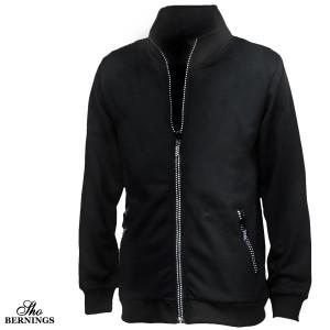 ブルゾン ジャケット 長袖 無地 ラインストーン ジップアップ メンズ スタンドカラ— 細身(ブラック黒) 335143
