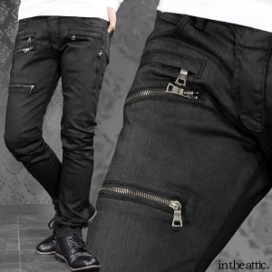 バイカーパンツ コーティング ファスナー 加工 メンズ スリム 光沢 ストレート カーゴパンツ(ブラック黒) 1831091