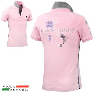 c18e344eac48f VIOLA rumore ヴィオラ ビオラ ポロシャツ 半袖 ジャガード メンズ ラインストーン ライン ストレッチ スリム(ピンク桃