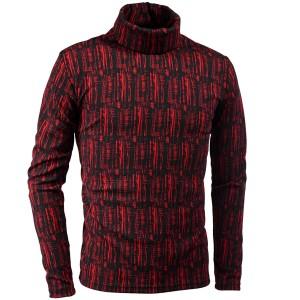 タートルネックシャツ 長袖 ストライプ ムラ柄 メンズ 膨れジャガード ストレッチ 日本製 mens(レッド赤ブラック黒) 193219