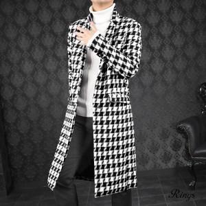 チェスターコート 千鳥柄 メンズ ジャガード シングル アウター ロングコート mens(千鳥柄ホワイト白ブラック黒) 139313