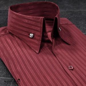サテンシャツ ドレスシャツ スキッパー ストライプ メンズ ジャガード ボタンダウン スリム 日本製 無地 mens(ワイン赤レッド) 191852