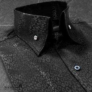 サテンシャツ ドレスシャツ スキッパー ヒョウ柄 豹柄 レオパード柄 メンズ ジャガード ボタンダウン スリム 日本製 無地 mens(ブラック