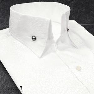 サテンシャツ ドレスシャツ スキッパー ヒョウ柄 豹柄 レオパード柄 メンズ ジャガード ボタンダウン スリム 日本製 無地 mens(ホワイト