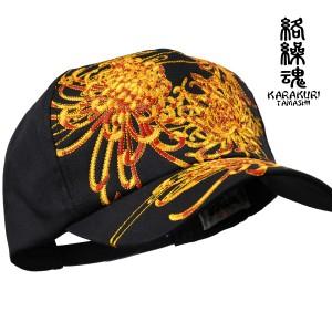 からくり魂 絡繰魂 キャップ 和柄 メンズ 帽子 サイズ調節可(菊花ブラック黒) 294815