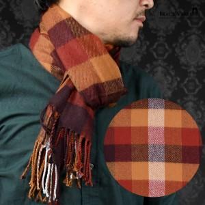 マフラー チェック柄 メンズ ビジネス アクリル ニット 日本製 チェックマフラー mens(レッド赤ブロックチェック) 5704