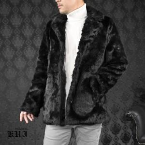 ファージャケット 無地 メンズ フェイクファー アウター テーラードジャケット mens(ブラック黒) 81176
