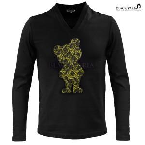 Tシャツ 長袖 Vネック 熊 クマ アニマル 動物 バラ 花柄 薔薇 メンズ(ブラック黒イエロー黄) zkk068ls