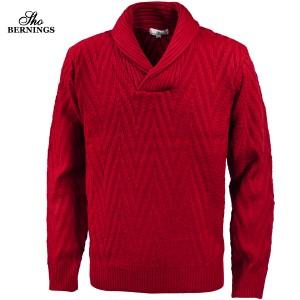 ニット ヘリンボーン柄 ショールカラー メンズ セーター 長袖 ジャガード ニットセーター mens(レッド赤) 411453