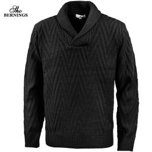ニット ヘリンボーン柄 ショールカラー メンズ セーター 長袖 ジャガード ニットセーター mens(ブラック黒) 411453