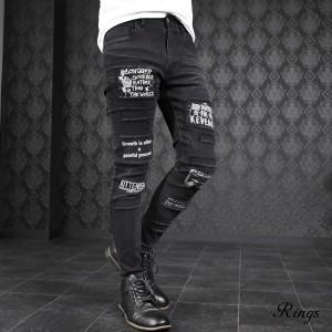 スキニー デニム メンズ グランジ クラッシュ加工 ストレッチ スリム シワ ロングパンツ mens(ブラック黒) 138805