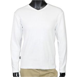 AVIREX Tシャツ 長袖 デイリー Vネック ワッフル [ ホワイト / Lサイズ ][6123208001l]