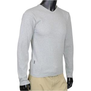 AVIREX Tシャツ 長袖 Vネック 無地 デイリー [ グレー / XLサイズ ][617394014xl]