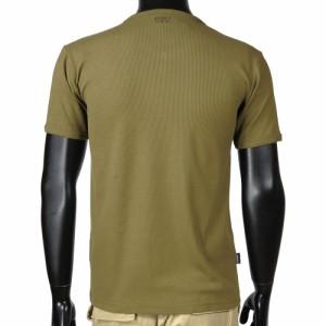 AVIREX 半袖Tシャツ 無地 デイリー ヘンリーネック [ オリーブグリーン / Sサイズ ][6143504075s]