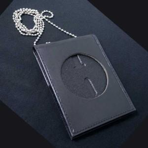 ストロング ID&ポリスバッジホルダー 71600 ネックチェーン 楕円 革製[71600-040]