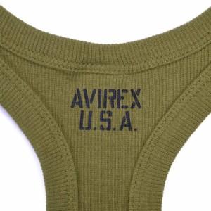 AVIREX タンクトップ 無地 デイリー バッククロス [ オリーブグリーン / Sサイズ ][6143503075s]