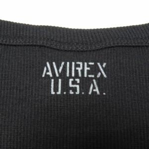 AVIREX Tシャツ 半袖 Uネック 無地 デイリー [ ブラック / Lサイズ ][6143506009l]