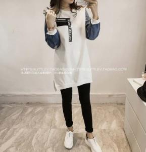 大きいサイズ レディース 袖切り替え ワンピース ロマンス とろみ 袖デニム風生地 ゆったり モード 韓国 ファッション プチプラ