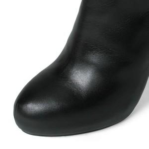 【アウトレット】 【SALE 37%OFFセール】 コメックス ブーツ ニーハイ ハイヒール アーモンドトゥ  ヒール13cm ロングブーツ  厚底 ブラ