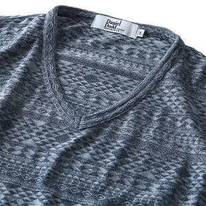 【大きいサイズ】【メンズ】DANIEL DODD ネイティブ柄ジャガードロングTシャツ【秋冬新作】azt-170470