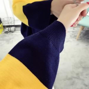 3色 バイカラー ニット 配色 切り替え ゆったり ゆるニット セーター ドルマンスリーブ オーバーサイズ プルオーバー