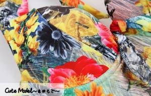 ワンピース ホルターネック 花柄 胸元リボン スカート