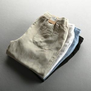 綿麻パンツ メンズ リネン ボトムス イージーパンツ カジュアル 新作 ロング リネンパンツ チノパン 綿麻 薄手