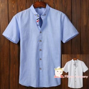 半袖シャツ シャツ メンズ 半袖シャツ ビジネス 半袖 綿 薄手 コットン 折り襟 カジュアル 大きいサイズ 新品
