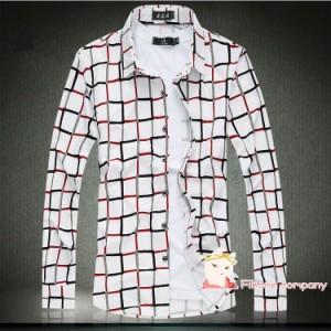 ワイシャツ メンズ 長袖 チェック柄 ビジネス フォーマル カジュアル 大きいサイズあり ゆったり 通勤 お兄系 コットン 綿 オシャレ花柄