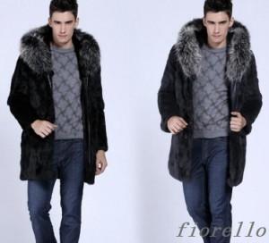 毛皮コート 人気 上質 上着 秋冬 防寒 暖かい アウター ファーコートメンズ おしゃれ ロングコートアウター ジャケット コート